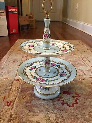 Goumot Labesse GL Limoges Porcelain China Two Tray Pastry Tray