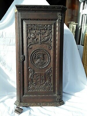Antique Carved Oak Corner Cupboard. Late Georgian.
