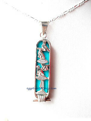 Personalized Egyptian Silver Cartouche with Turquoise Stone Pendant
