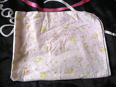 Vintage pink flat sheet with bunnies for crib or moses basket brushed cotton