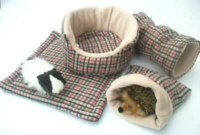 **Cozy Pets** Fleece *4 Piece Set * Snuggle Pouch* Guinea Pig Bed*Tunnel*Wee Pad
