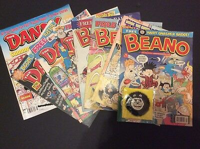 JOB LOT OF OLD DANDY & BEANO COMICS 1998 > 2005 D.C.THOMSON + Free Gnasher Badge