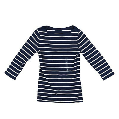 538423aa Tommy Hilfiger Womens T-Shirt Boat Neck 3/4 Sleeve Striped Medium Nwt  Damaged