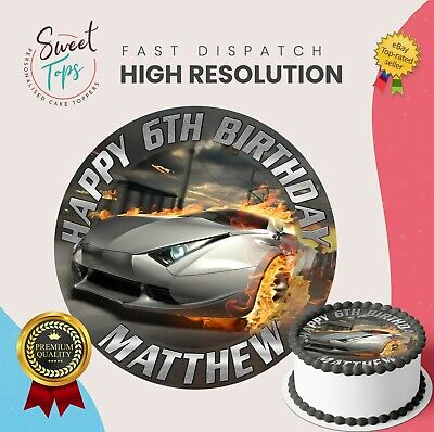 SPORTS CAR EDIBLE BIRTHDAY CAKE TOPPER DECORATION PERSONALISED