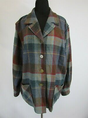 Pendleton Made In USA Womens Blue/Teal/Red Wool Button Up L/S Shirt Jacket SZ 2X