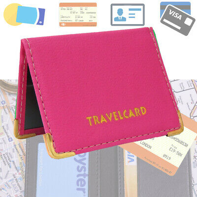 REAL LEATHER Travel Card Holder Wallet Bus Pass Ticket Soft Slim Case UK