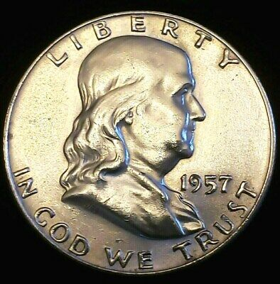 1957-D Franklin Half Dollar - 90% Silver Choice Unc Exact Coin is Shown Free S/H
