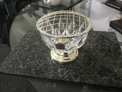 Lead Crystal Cut Glass Posy Bowl With Chrome Mesh Frog And Silver Base 9cmx11cm
