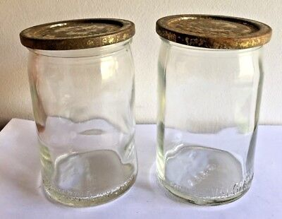 2 Fowlers Vacola 1Lb  Glass Jam Jars With Jam Cover Lids