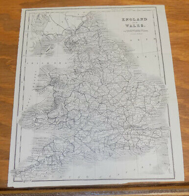c1900 Antique Map///ENGLAND AND WALES, Includes Railroad Lines
