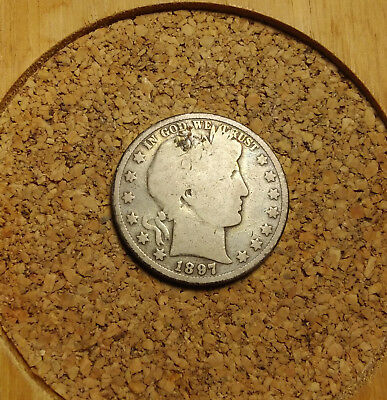 1897 P 50C Barber Half  Circulated  90 % Silver US Coin  BH220 FREE SHIPPING