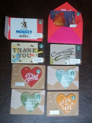 STARBUCKS 10 cards,4 Chinese New Year, Valentine cards in mint