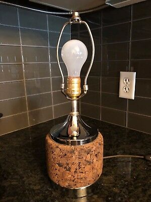 Cork & Chrome Table Lamp - Mid-Century Modern - Danish Modern