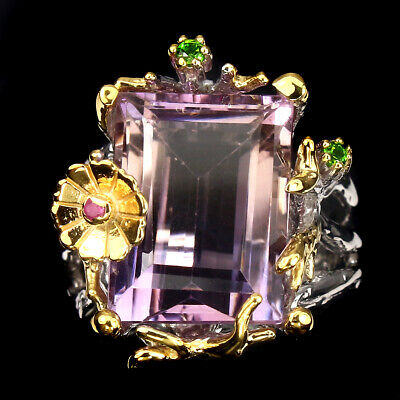 Handmade 9.72ct 14x10mm Purple Amethyst Diopside 925 Sterling Silver Ring 7.5