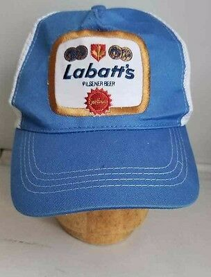 Vtg 70 s Labatts Blue Snapback Embroidered Patch Trucker Delivery Driver Cap  Hat 6ffe8149199