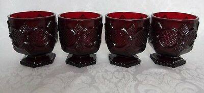 4 Vintage Avon 1876 Cape Cod Collection Footed Glass Set of 4 Ruby Red EXCELLENT