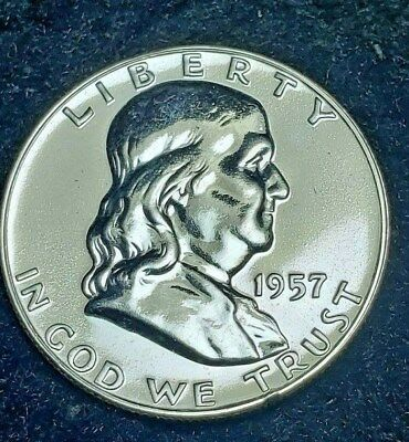 1957-P Proof Franklin Silver Half Dollar Free S/H in Holder as Shown - From Set