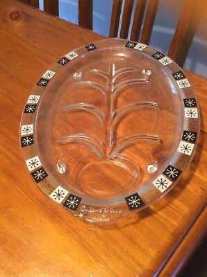 Vintage Inland Glass Snowflake Meat Table Platter