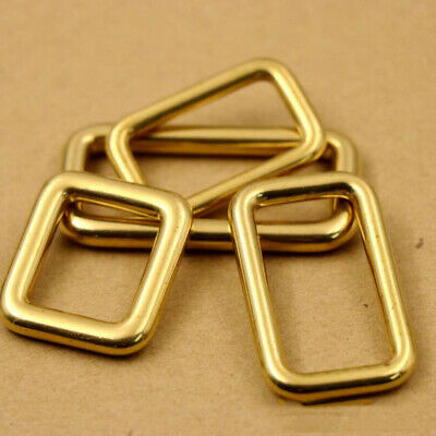 100% Brass Rectangle Buckle Webbing Bag Loop Rings Strapping Belts DIY Craft