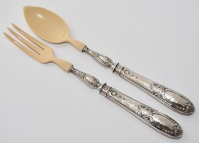 Pair of Vintage French Sterling Silver Salad Servers Repousse Handles/Bakelite