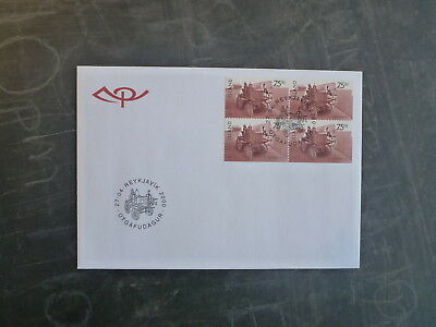 2000 Iceland Historic Vehicles Blk 4 Stamps Imperf One Side Fdc First Day Cover