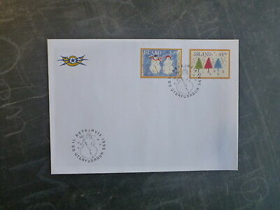 1995 Iceland Christmas Set 2 Stamps Fdc First Day Cover