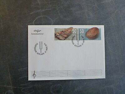 2014 Iceland Musical Instruments Set 2 Stamps Fdc First Day Cover