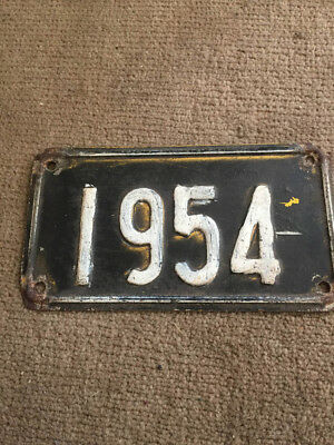 Vintage Rare Small Black & White Number Plate