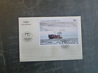2014 Iceland North By Sea Stamp Mini Sheet Fdc First Day Cover