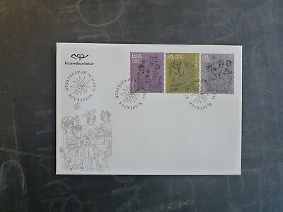 2014 Iceland Christmas Set 3 Stamps Fdc First Day Cover