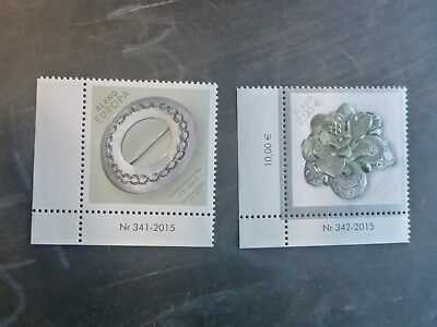 2015 Aland, Finland Dress Brooches (Embossed) Set 2 Mint Stamps Mnh