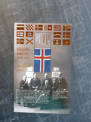 2015 Iceland Centenary Iceland Flag Stamp Mini Sheet With Gold Foil Mnh