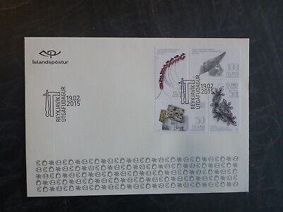 2015 Iceland Design Jewellery Set 4 Stamps Fdc First Day Cover