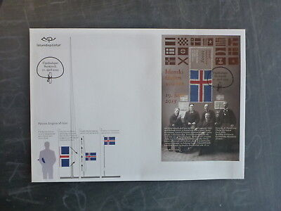 2015 Iceland Centenary Of Iceland Flag Mini Sheet Fdc First Day Cover