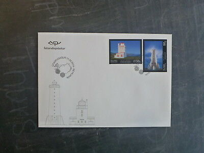 2014 Iceland Lighthouses Set 2 Stamps Fdc First Day Cover