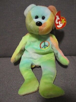 Vintage Retired 1996 Ty PEACE Beanie Baby Tie Dye Bear - Major Tag Error 66ee83a47374