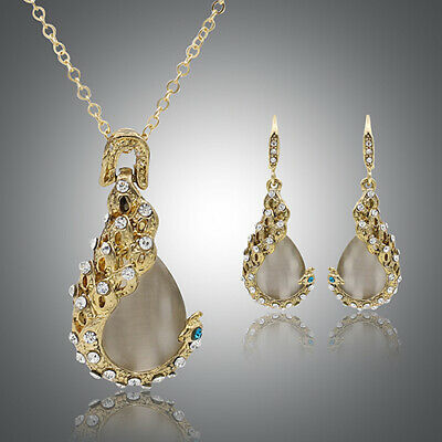 FT- Fashion Rhinestone Opal Pendant Necklace Earrings Wedding Jewelry Set Candy