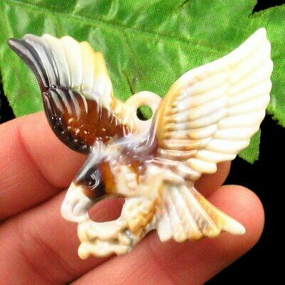 Imitate Carved Chinese Old Jade Hand-made Eagle Pendant Bead A42044