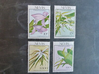 1990 Nevis Christmas Set Of 4 Orchid Mint Stamps Mnh