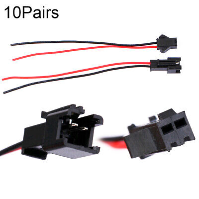 For LED Strip 10cm Pitch 2.54mm  SM 2Pin Jack Wire Connector Male and Female