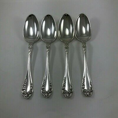 Lot of (4) NORTHUMBRIA Normandy Rose Sterling Oval Soup Spoons/Dessert Spoons