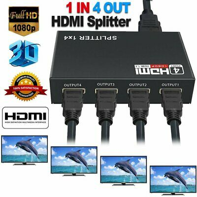 New Ultra HD 1*4 HDMI Splitter 1 In 4 Out 4K 3D 4 Way HDMI Signal Distributor UK