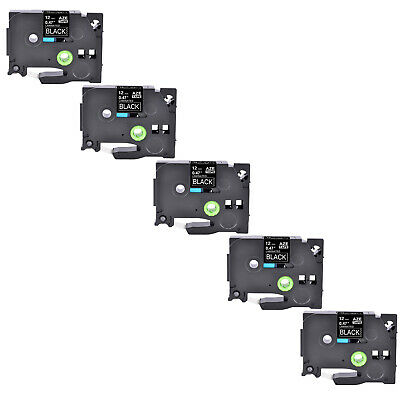 5PK TZ 335 TZe 335 White on Black Label Tape 1/2'' For Brother P-Touch Printer