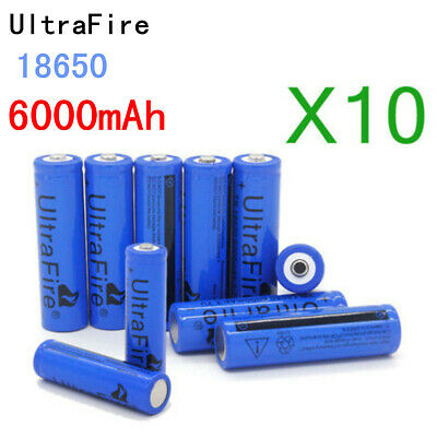 10x Torch UltraFire 18650 Battery Li-ion 3.7V Lithium Rechargeable Batteries USA