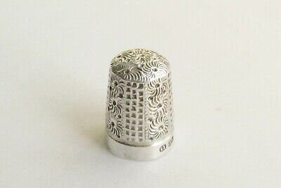 Antique solid silver thimble Birmingham hallmarks dated 1911 size 11