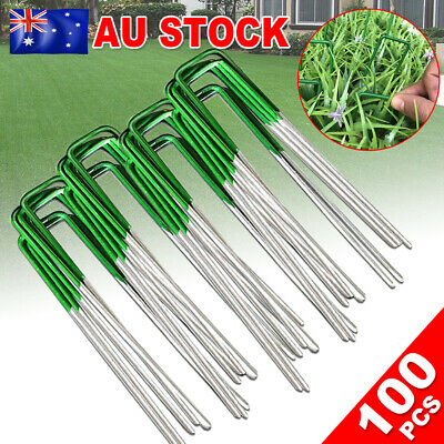 100 Synthetic Artificial Grass Pins Fake Turf Lawn Pad Weed Mat fixed U Pegs Peg