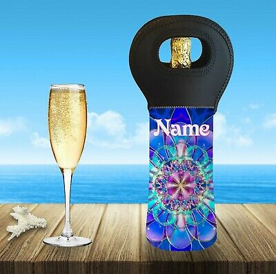 Mandala Personalised With Or Without Name Wine Bottle Cooler Carry Bag