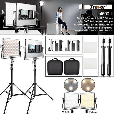 TRAVOR 2 Pack Dimmable Bi-color 200 SMD LED Video Light and Stand Lighting Kit