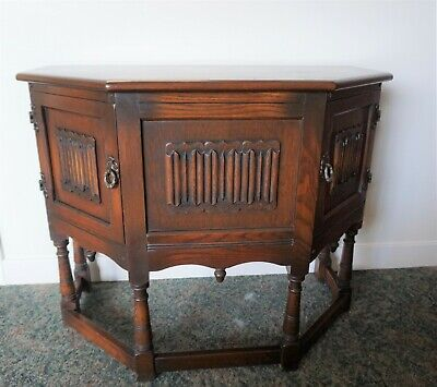 Old Charm Carved Oak Canted Hall Side Cabinet Credence Cupboard - Tudor Brown