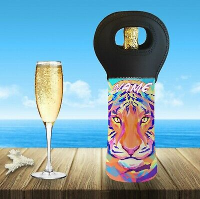 Tiger Personalised With Or Without Name Wine Bottle Cooler Carry Bag